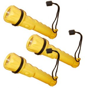 3 Flashlights Water Resistant Torch Lamp Bright Light Camp Safety Survival Sport