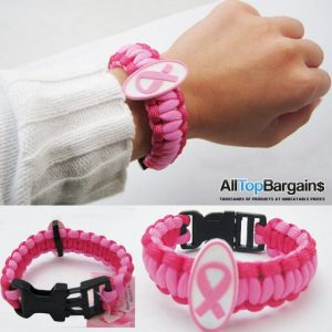 1 Womens Breast Cancer Awareness Bracelet Pink Ribbon Emblem Paracord Lanyard