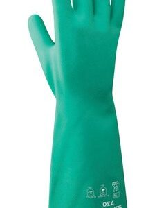 [Case of 8 packs] Showa Unisex Indoor/Outdoor Nitrile Chemical Gloves Green M (2 per pack)