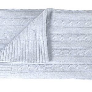 Couture Home Collection Cozy and Warm Classic Cable Knit Warm & Soft Cashmere Wool Throw Blanket 50 x 60 (Periwinkle)