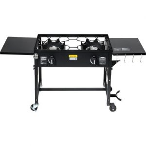 Outdoor Camping Propane Double Burner Stove Cooking Station BBQ Grill 58,000 BTU