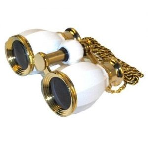 HQRP 4 x 30 Opera Glass Binocular White pearl with Gold Trim 4x Extra High Magnification