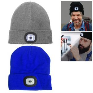Beanie Cap 4 LED Flashlight Hat Hands Free Warm Headlight Rechargeable Run Torch
