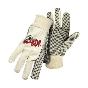 Boss The Original Plastic Dot Men's Indoor/Outdoor Cotton Dotted Black/White L Gloves (Case of 12)