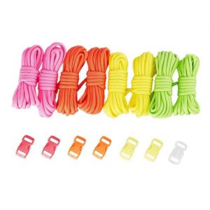 Juvale 8 Nylon Paracords and 8 Buckles Set for Survival Bracelets and Crafts, 4 Colors, 10 Feet Cords