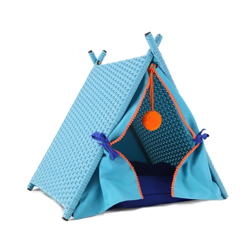 Baner Garden P514 Cat House Tower Rattan Wicker Portable Furniture Tent Playpen with Blue Rattan Soft Cushion - 19.7 x 21.7 x 22 in.