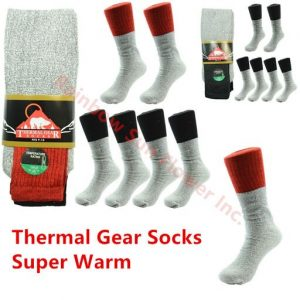 12 Pairs THERMAL GEAR Socks Size 9-15 Winter Snow Outdoor Hiking Socks For Men
