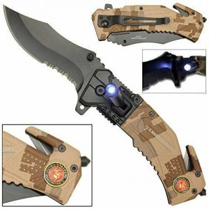 Clip point Tactical Rescue Pocket Knife US Marines with LED Flashlight