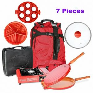 7-Piece Outdoor Camping Portable Kitchen Set W/ Non Stick Pan Stove Baking Molds