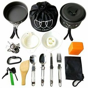 Gold Armour 17 Pieces Camping Cookware Mess Kit Backpacking Gear and Hiking