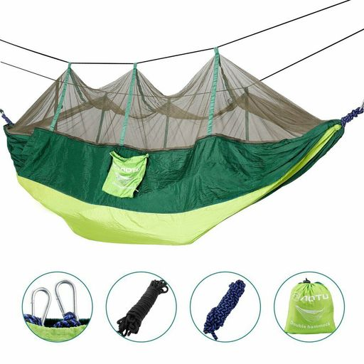 2 Person Hanging Hammock Tent Swing Bed With Mosquito Net Outdoor Camping Green