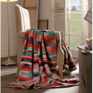 Cotton Throw Blanket Bed Sofa Chair Wool Jacquard Woven Warm Stripes Oversized