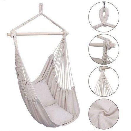 Hammock Hanging Rope Chair Swing Seat Patio Camping Wooden /w 2 Pillows Beige