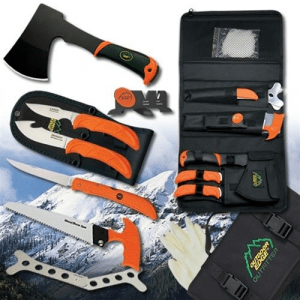 Outdoor Edge Cutlery The Outfitter Hunting Set - Gut-hook Skinner,Caping Knife, Folding Fillet Knife, Wood-Devil Hatchet,Saw,Ribcage Spreader,Cleaning Gloves,Sharpener